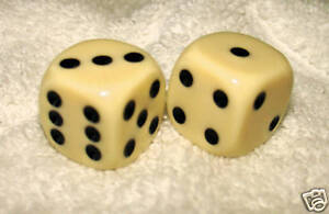 IVORY OPAQUE DICE PAIR