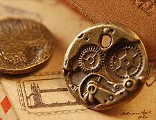 4x Metall Anhänger Charm Uhr Zahnrad bronze 24mm mb1194