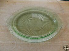 Anchor Hocking Spiral Green Vaseline Depression Glass Platter