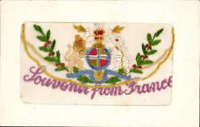 WW1 Silk. Souvenir from France. Flap Design. Lion & Unicorn.