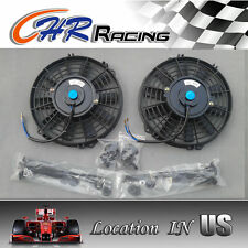 "2 × 7"" inch Universal Electric Radiator RACING COOLING Fan + mounting kit"