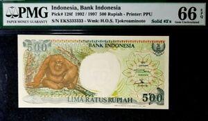 PMG 66 GEM EPQ 1992 INDONESIA 500 Rupiah SOLID/N-EKS333333(+FREE1 B/note) #17116
