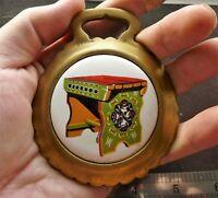 Vintage Brass Horse Saddle Harness Medallion Ornament