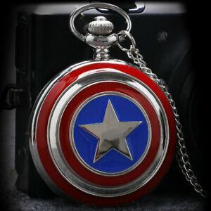Vintage Quartz Pocket Watch Arabic Numerals Dial Captain Steampunk America Gifts