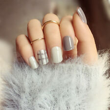 NEW 24pcs Grey Checks Fashion Square Head Girl Short False Fake Nails Glue N3065