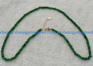 Fine 2x4mm Faceted Green Emerald Gemstone Abacus Beads Necklace 18'' AAA