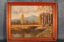 Bild, Ölgemälde Berglandschaft Alpen Birken am Bach sign. Brückner #4158