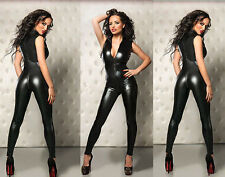 Black Catwoman False Leather Wetlook Jumpsuit Catsuit Clubwear Fancy Dress 7008