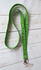 Handmade Fabric Lanyard Neck Strap ID Badge Holder Keychain Green Swirls Gift