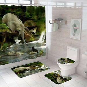 Elephant Shower Curtain Set Thick Bath Rugs Bath Mat Non-Slip Toilet Lid Cover