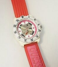 GUESS Woman's Retro 1993 Watch Skeleton Dial Red Jelly Rubber Strap