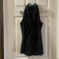 Express Elite Stretch Women's Black Ruffle Accent Sleeveless Blouse size Small