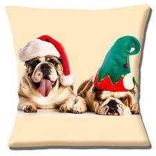 "TWO ENGLISH BULLDOGS WEARING SANTA ELF HATS CHRISTMAS 16"" Pillow Cushion Cover"