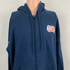 Adidas New England Revolution Full Zip Hoodie Sweatshirt MLS Soccer Blue Size L