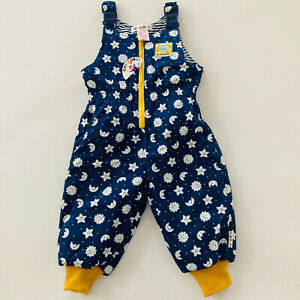 NWT Vintage Gymboree Baby 6 Months Quilted Snow Bib Moon Stars Blue Zipper