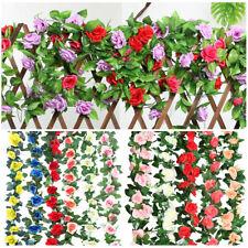 2X8Ft Artificial Rose Flower Ivy Vine Silk Flower Garland Wedding Home Wall Deco