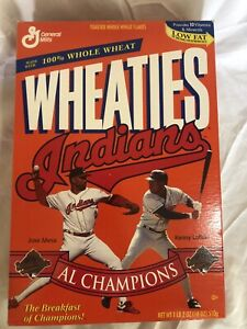 1995 Cleveland Indians AL Champions Wheaties Cereal Box Lofton Mesa