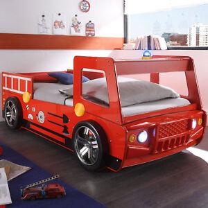 Feuerwehrbett Kinderbett Bett Spark Kinderzimmer rot lackiert Beleuchtung