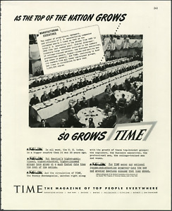"""Time Magazine """"As The Nation Grows So Grows Time"""" 1946 Vintage Print Ad"""
