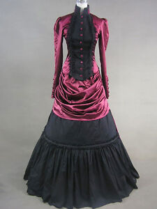 Vintage Gothic Black red Costume Victorian Long Sleeve Maxi prom party dresses