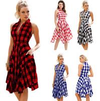 Women Sleeveless Plaid Boho Dress Casual Button Mini Shirt Beach Irregular Dress