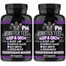 TESTOSTERONE BOOSTER MONSTER TEST PM Sleep Aid More Sex Drive Muscle Mass 2 Pk