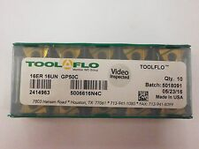 10pc) ToolFlo 16ER 16UN GP50C Laydown Coated Carbide 16 TPI Threading Inserts