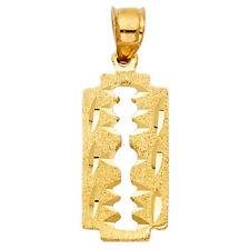 Real 14K Yellow Gold Shaving Razor Blade Charm Pendant