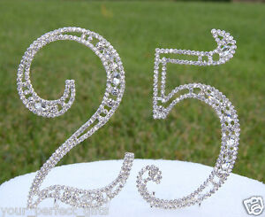 """5"""" Crystal Rhinestone Number 25 Silver Cake Topper Top 25th Birthday Party"""
