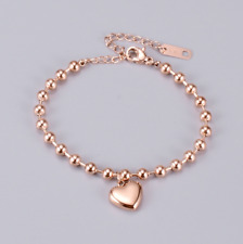 """Foot Ankle Chain Bracelet Gift Pe14 8-10"""" Rose Gold Stainless Steel Heart Anklet"""