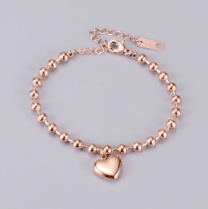 "8-10"" Rose Gold Stainless Steel Heart Anklet Foot Ankle Chain Bracelet Gift PE14"