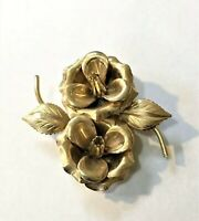 Vintage Gold Tone Double Camillia Flower Brooch Pin