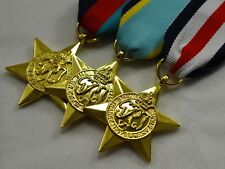 24ct Gold WW2 Star Medals & Ribbons 1939-1945, Air Crew Europe, France/Germany