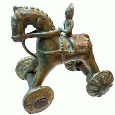 OLD ANTIQUE Hand-Made Temple Toy_Peened Metal_Deity Rider on Horse with Wheels