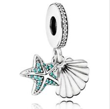 0b9c30455 Authentic Pandora Tropical Starfish and Sea Shell Frosty Charm 925 Silver