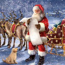 Santa & Reindeers Charity Christmas Cards Pack of 10 The Christmas List NEW