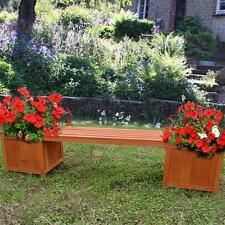 Gartenbank Braun mit 2 Blumenkästen Holz Parkbank Holzbank Sitzbank Eckbank ?