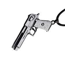 New Mens Silver DE Desert Eagle Pistol Gun Necklace Pendent Jewellery Gift Bag