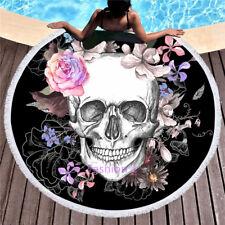 Skull Floral Soft Cotton Blend Terry Velour 150cm Round Beach Towel Throw