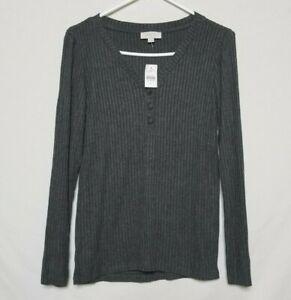 NWT Ann Taylor Womens S Ribbed Sleep Shirt Gray V-Neck Long Sleeve Night Pajama