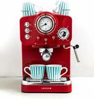 IKOHS THERA Retro Cafetera Express para Espresso y Cappucino 1100W 15 Bar Rojo