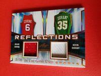 DR J JULIUS ERVING KEVIN DURANT GAME USED JERSEY PATCH CARD #15/20 LEAF BROOKLYN