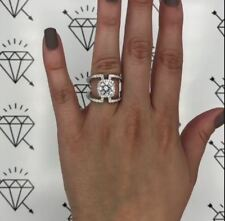 1ct Near White Round Brilliant Cut Moissanite Engagement Ring 925 Silver Unique