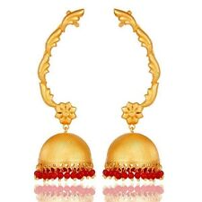 Traditional Jhumka Ear Cuff with 18K Gold Plated Sterling Silver and Coral