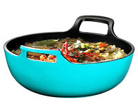 Enameled Cast Iron Balti Dish With Wide Loop Handles, 5 Quart, Turquoise