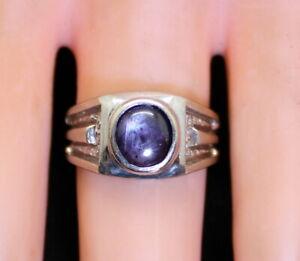 NICE Estate 14K White Gold Men's 1.25Ct Purple Star Ruby Ring Size 7.25, 7.7gram