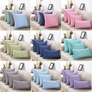 Simple Solid Linen Cotton Throw Pillow Cases Cafe Sofa Cushion Cover Home Decor