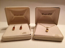 Zales 14k Gold Diamond & Citrine November Birthstone Earring & Necklace Set