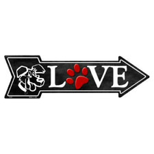 """Outdoor/Indoor Love For Dogs, Dog Lover Paw Novelty Metal Arrow Sign 5"""" x 17"""""""