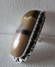 "VTG LG RING STATEMENT AGATE~ STERLING BEADED NATIVE AM INDIAN BROWNS~NOS~2X1""~8+"